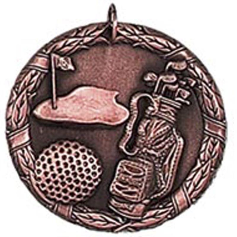 5cm Laurel Golf Medal & Case