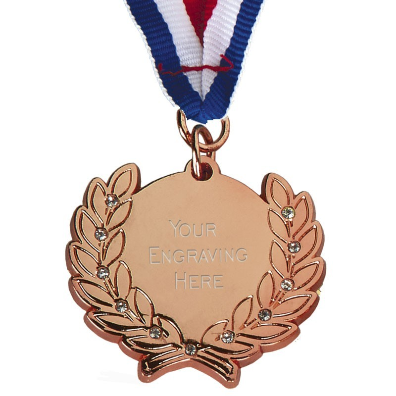 4.5X4.1cm Diamond Bling Medal With Ribbon