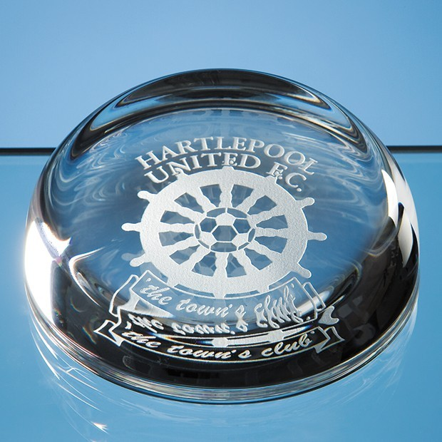 9cm Optical Crystal Flat Top Dome Paperweight