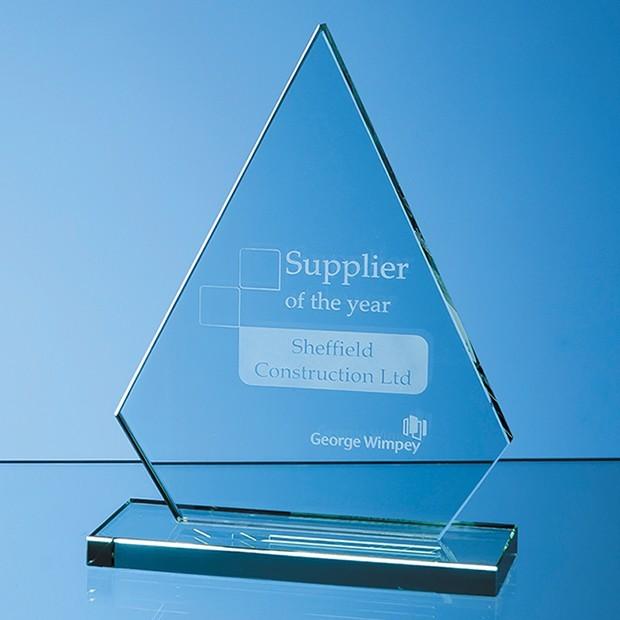 19cm x 12mm Jade Glass Peak Award