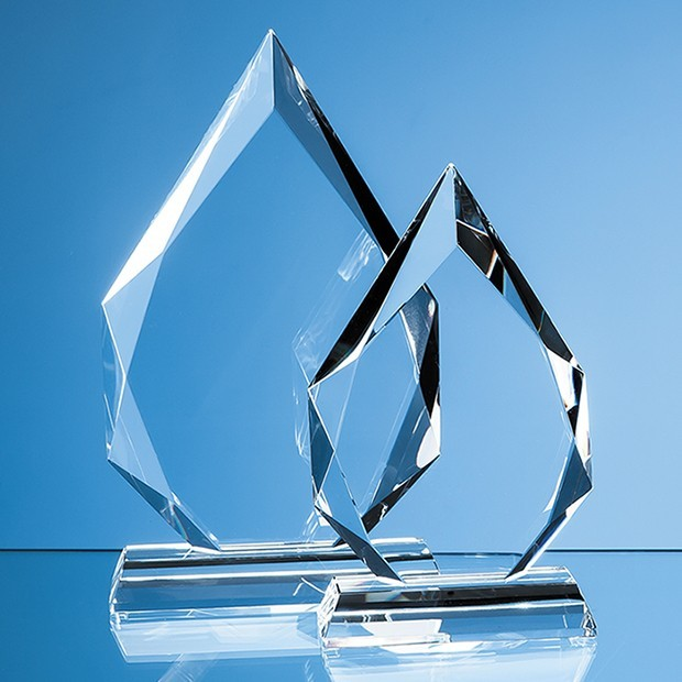 15cm x 20mm Clear Glass Facetted Diamond Peak Award