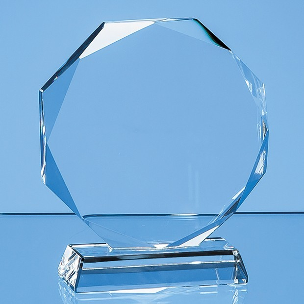 10cm x 15mm Clear Glass Facetted Octagon Award