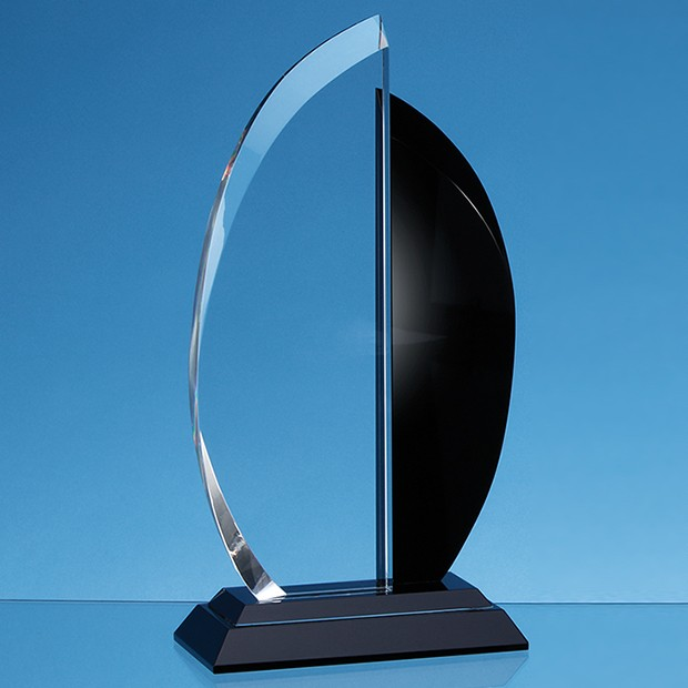 21cm Clear & Onyx Black Optical Crystal Facet Curve Award