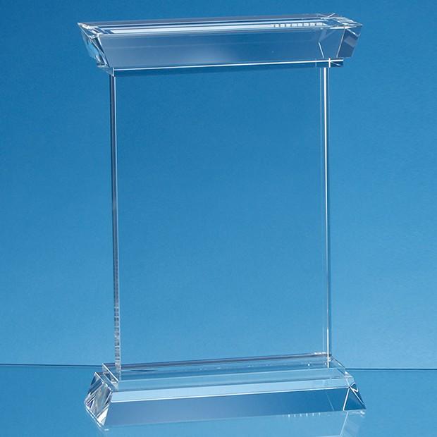 18cm Optical Crystal Portunus Mounted Rectangle Award