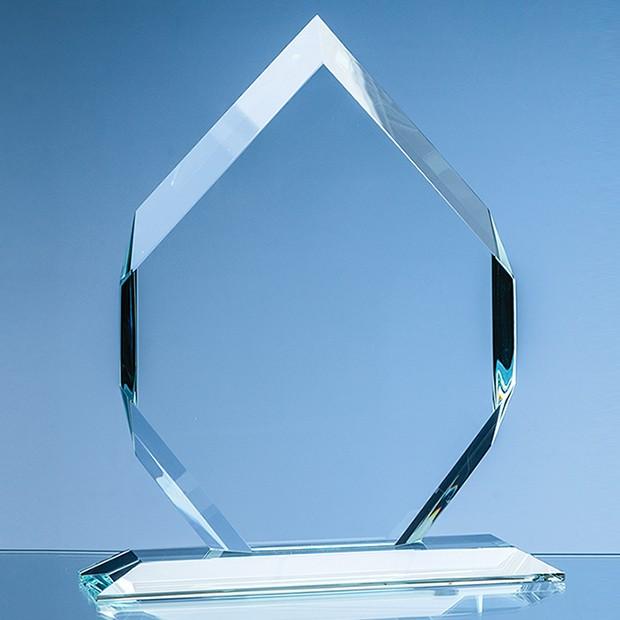 15cm x 10cm x 15mm Clear Glass Majestic Diamond Award