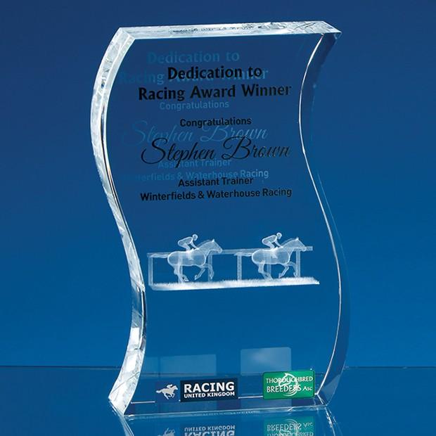 15cm Optical Crystal Freestanding Wave Award