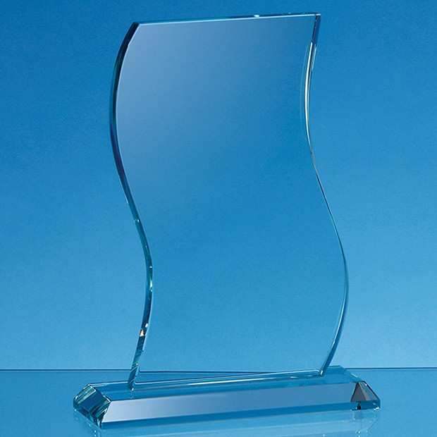 15cm x 10cm x 15mm Jade Glass Wave Award