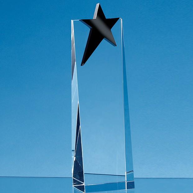18cm Optical Crystal Rectangle with an Onyx Black Star Award