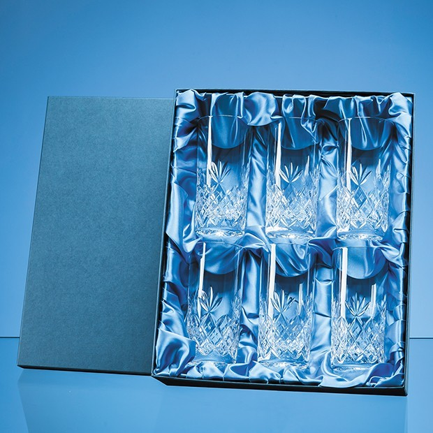 6pc 360ml Blenheim Lead Crystal Full Cut High Ball Gift Set
