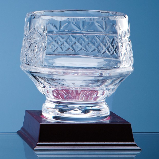 12cm Lead Crystal Panelled Heeled Bowl