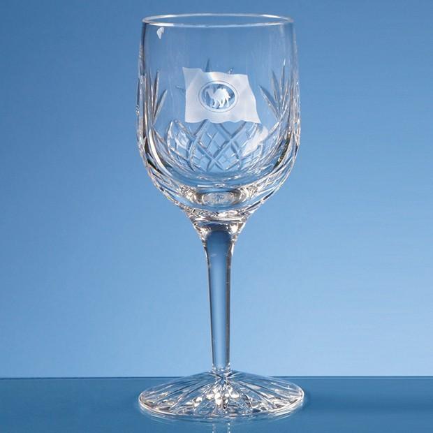 220ml Blenheim Lead Crystal Panel Wine Glass