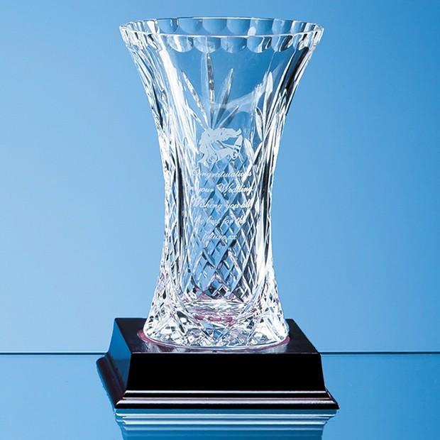 15cm Lead Crystal Panelled Flared Vase