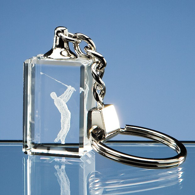 3D Driving Golfer Optical Crystal Keyring