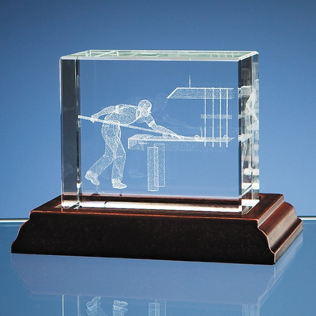 3D Snooker Player in Optical Crystal Block