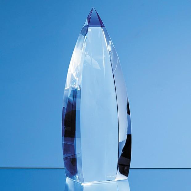 18cm Nik Meller Design Clear Optical Crystal & Cobalt Blue Vetri Obelisk Award