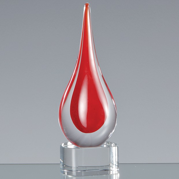 18cm Handmade Crystal Brilliant Red Teardrop Award