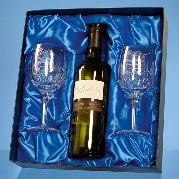 Blenheim Double Goblet Gift Set with a 75cl Bottle of White Wine