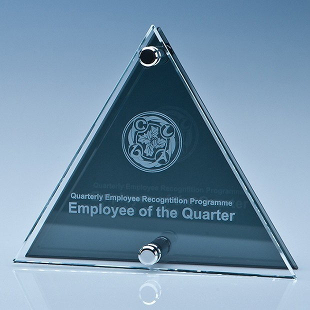 17cm Clear and Smoked Glass Triangle Plaque