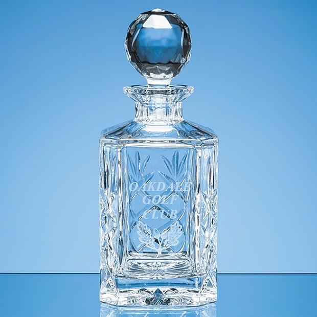 0.8ltr Blenheim Lead Crystal Panel Square Spirit Decanter