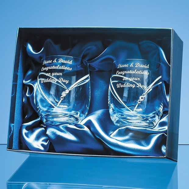 2 Diamante Whisky Tumblers with Heart Shaped Cutting in a Satin Lined Gift Box
