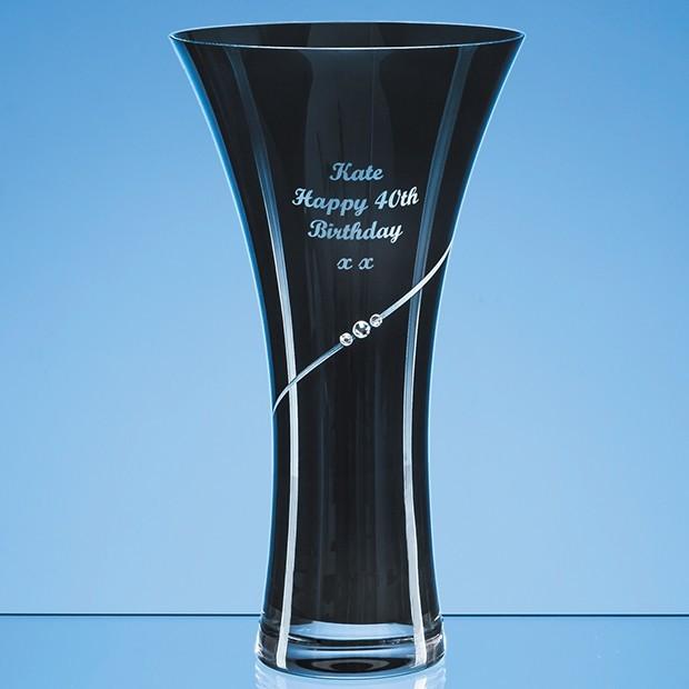 25cm Onyx Black Diamante Trumpet Vase