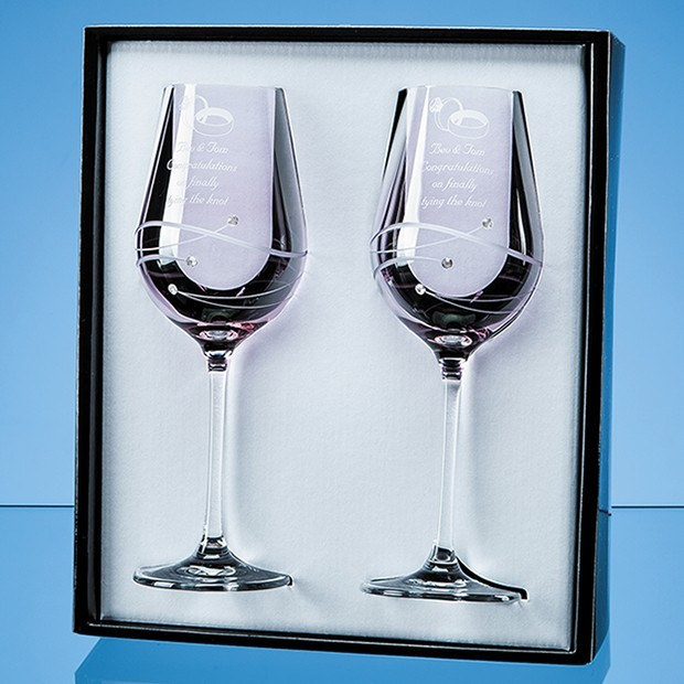 2 Pink Diamante Wine Glasses with Spiral Design Cutting in an attractive Gift Box