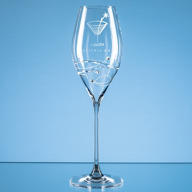 320ml 'Just For You' Diamante Prosecco Glass with Spiral Design Cutting