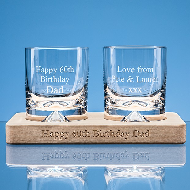 2 off 260ml Dimple Base Whisky Tumblers on a Beech Wood Base