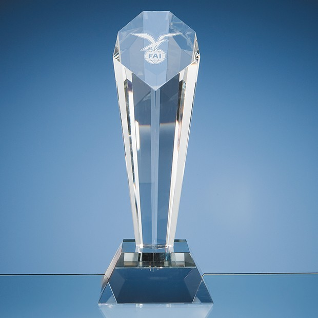 26cm Optical Crystal Sloped Facet Column Award