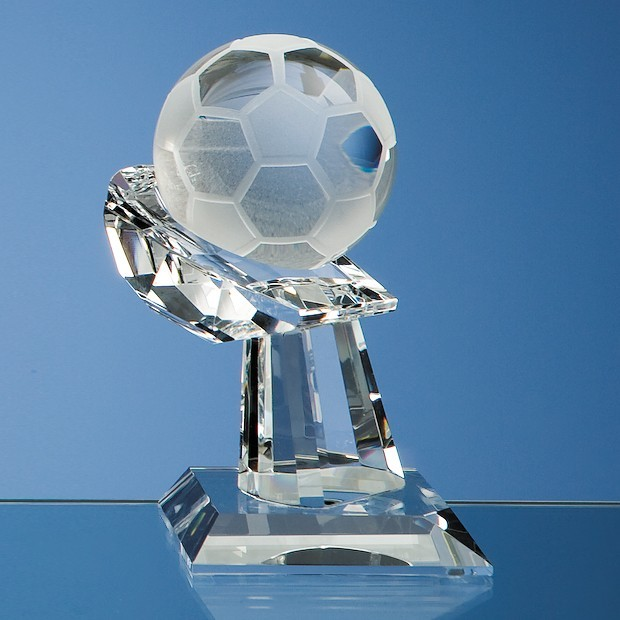 6cm Optical Crystal Football on Mounted Hand Award