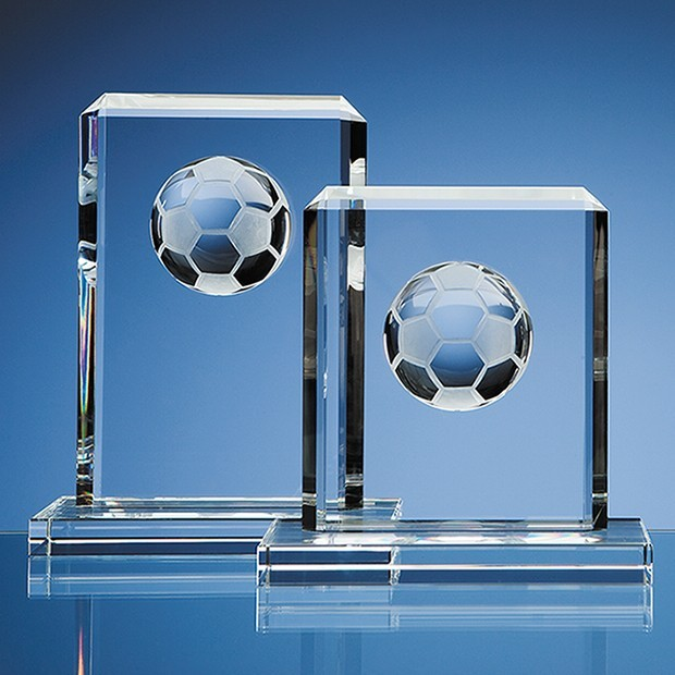 15cm Optical Crystal Football Rectangle Award