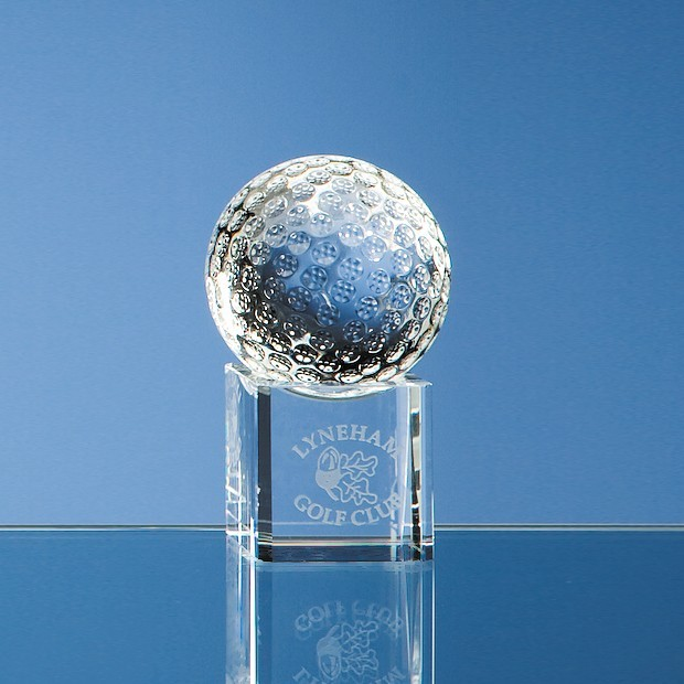 5cm Optical Crystal Golf Ball on Clear Base