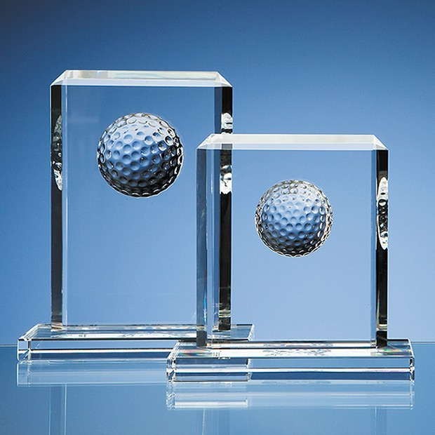 15cm Optical Crystal Golf Ball Rectangle Award