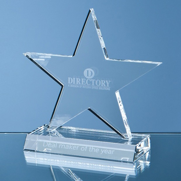 11cm Optical Crystal 5 Pointed Star on Base Award