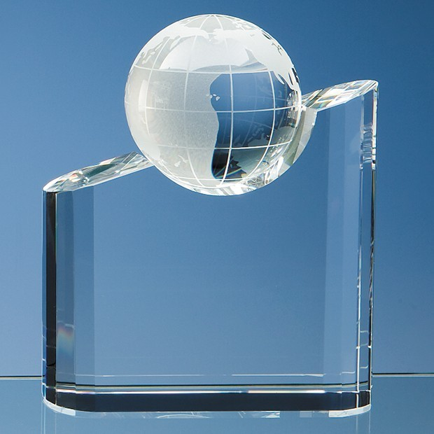 18cm Optical Crystal Globe Mountain Award