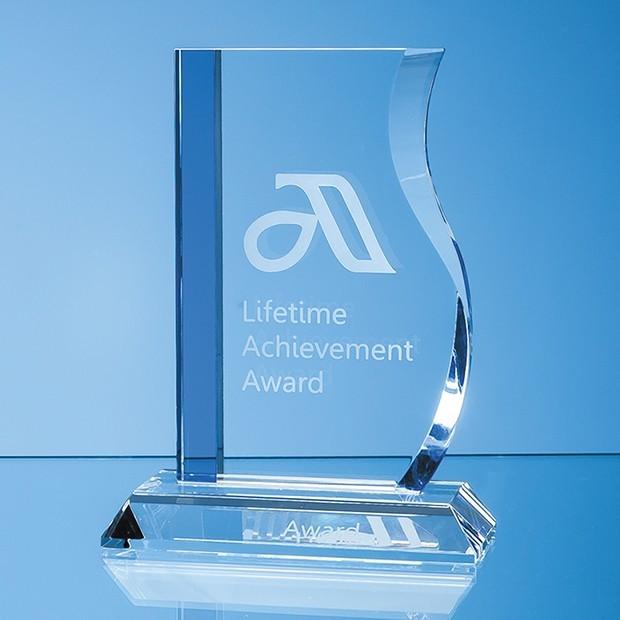 17.5cm Optical Crystal Blueline Wave Award