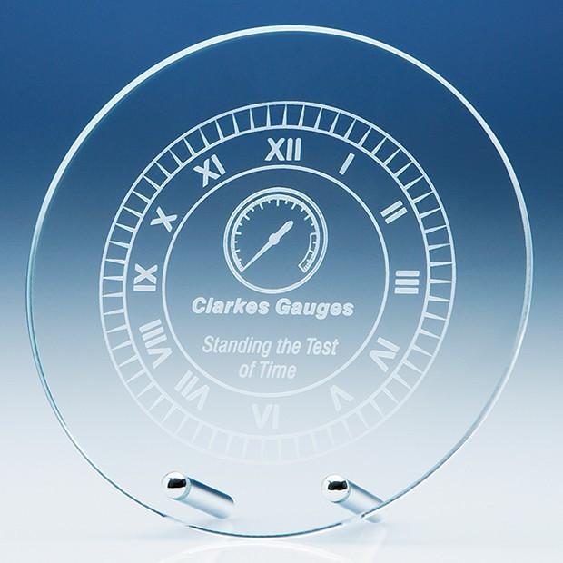 15cm Round Glass Plaque with Chrome Pins
