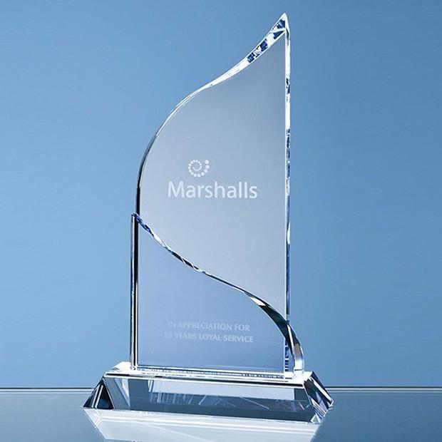 22cm Optical Crystal Grand Bleu Award