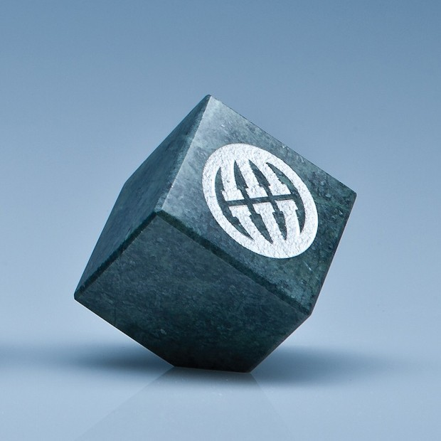 5cm Green Marble Bevel Edged Cube