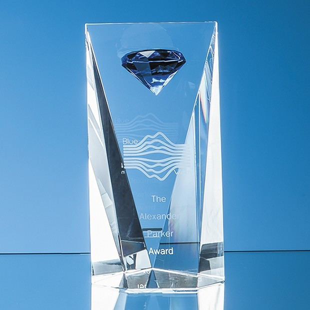 20.5cm Optical Crystal Mounted Blue Diamond Award