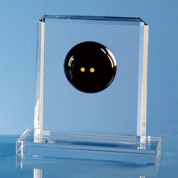 Optical Crystal Squash Ball Rectangle Award