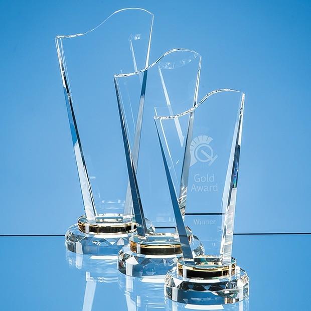 19.5cm Optical Crystal Golden Torch Award