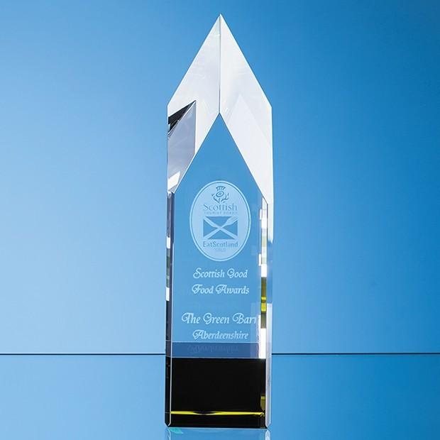 23cm Clear & Emerald Optical Crystal Pointed Monolith Award