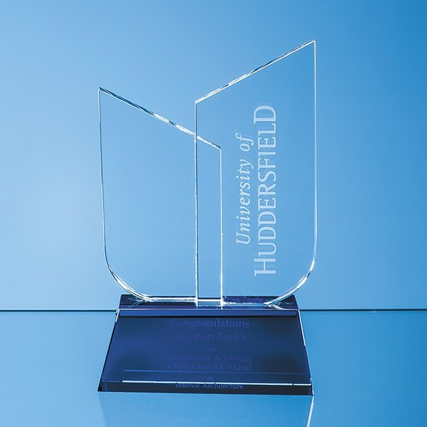 17cm Optical Crystal Double Slope Award on a Sapphire Blue Base