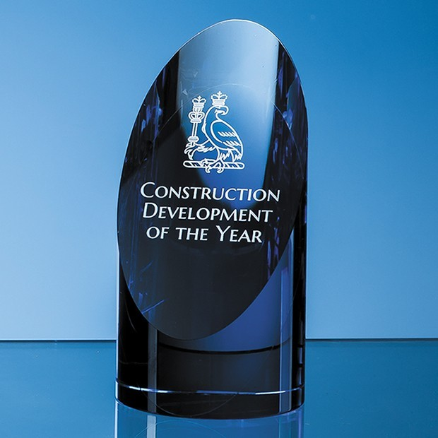 15cm Clear & Sapphire Blue Optical Crystal Cylinder Award