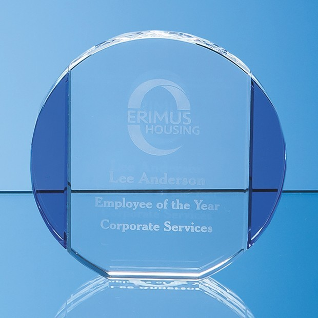 10.5cm Clear & Sapphire Blue Column Circle Award