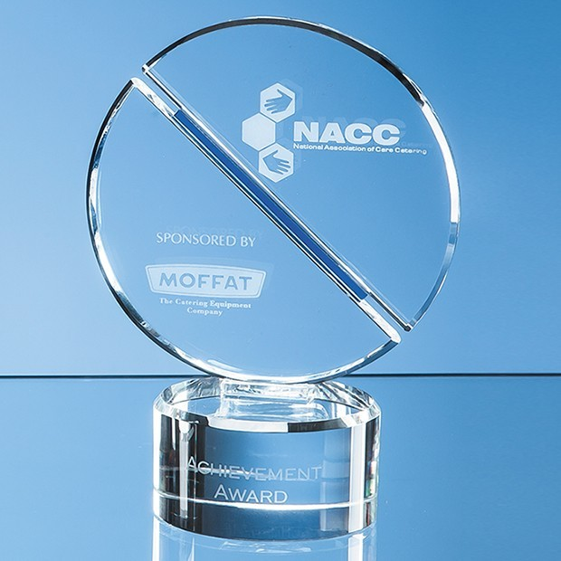 17.5cm Optical Crystal Mounted Circle Award