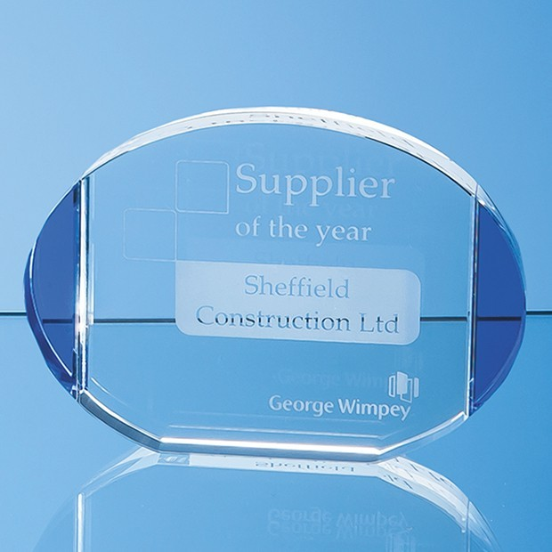 14.5cm Clear & Sapphire Blue Column Oval Award
