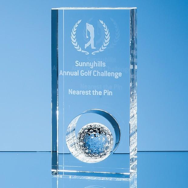 17cm Optical Crystal Golf Ball in the Hole Award