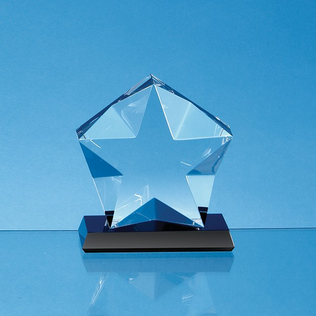 10cm x 4cm Optical Crystal Facetted Star Mounted on an Onyx Black Base